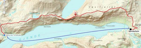 Vakantie Noorwegen - kaartje Gjendesheim en Memurubu