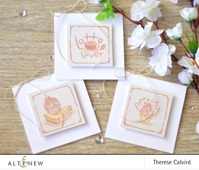 Altenew - Watercolor Frames - Ice Cream - Latte - Strawberry - Lostipaper (mini card set) copy