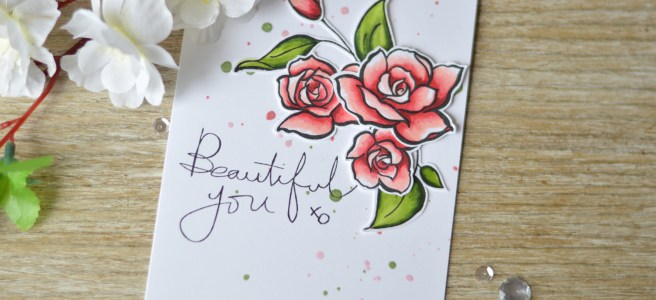 Using Altenew Artist Markers to colour some Amazing You flowers - Lostinpaper (card video)