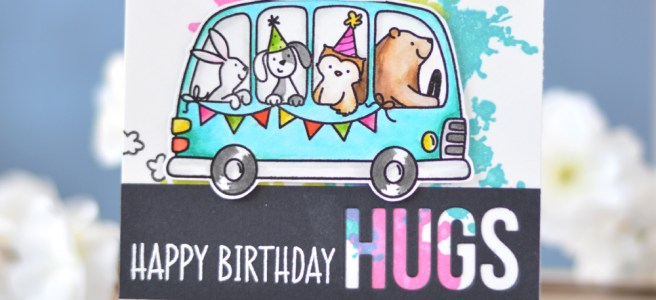 Lostinpaper - Avery Elle - Birthday Bus - Altenew - Splash of Color - MFT - Words for Friends - Zigs (card video) 1