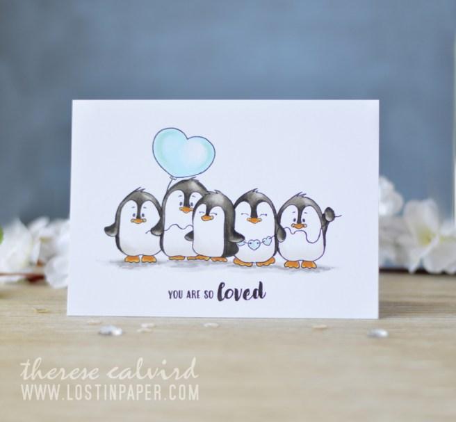 Lostinpaper - Gerda Steiner - Valentine Penguins - Copics (card video) 1