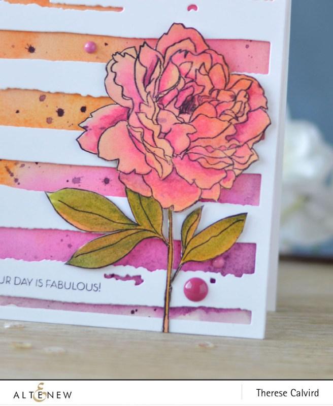 Altenew - Peony Spray - Watercolor Stripes - Lostinpaper (card video) - thumbnail
