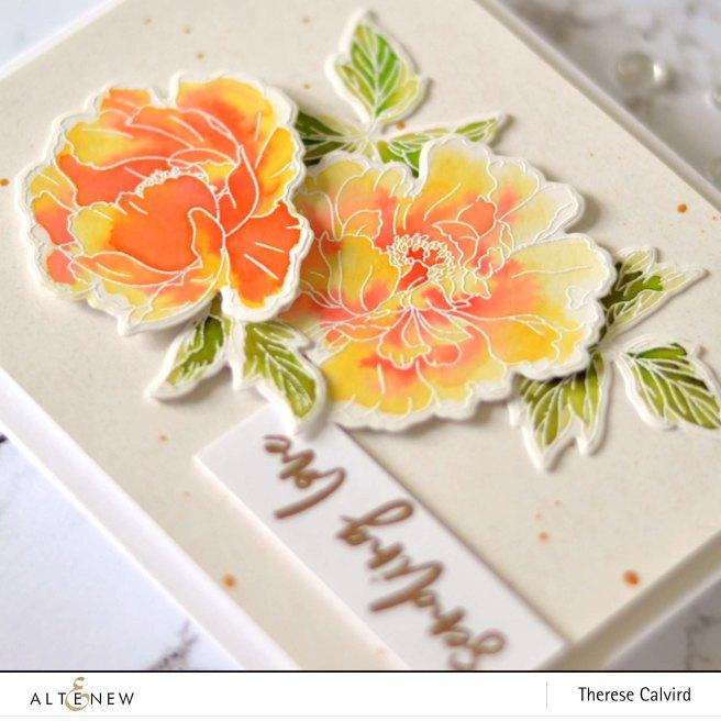 Altenew - Beautiful Peony - Waterbrush Marker Refill - Therese Calvird (card video) 1 copy