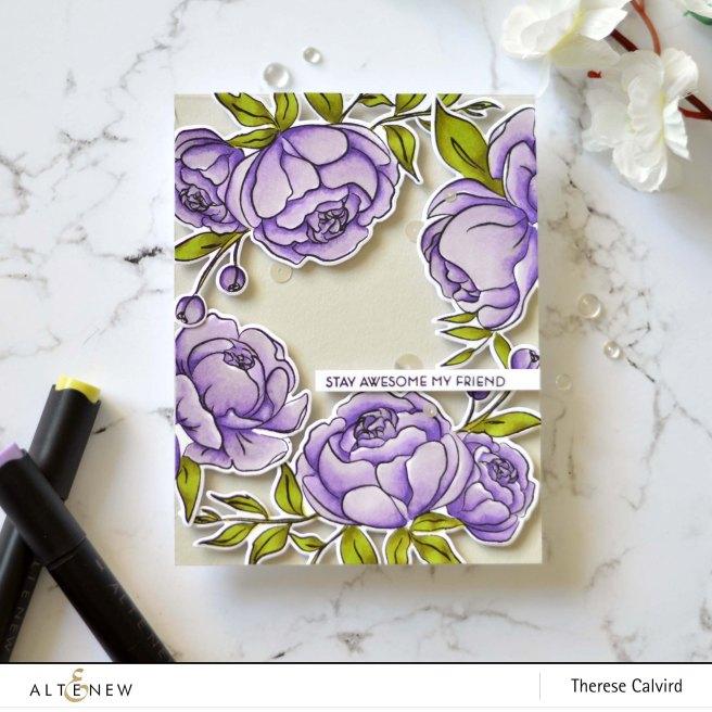 Altenew - Precious Peony - Leaf Canopy - Therese Calvird (card video) 1 copy