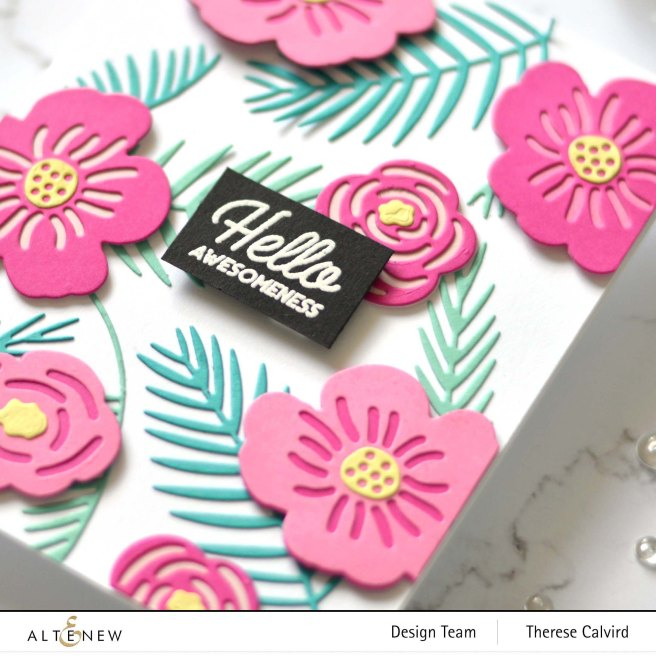 Altenew - Parlor Palm Die - Retro Plantines - Layered Floral Elements - Therese Calvird (card) 2 copy