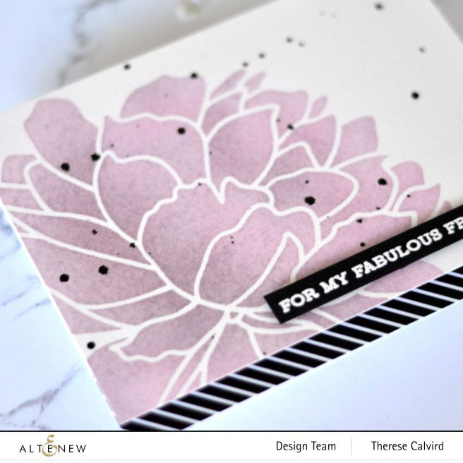 Altenew - Mega Bloom Stencil - Senitment Strips 2 - Therese Calvird (card) 2 copy