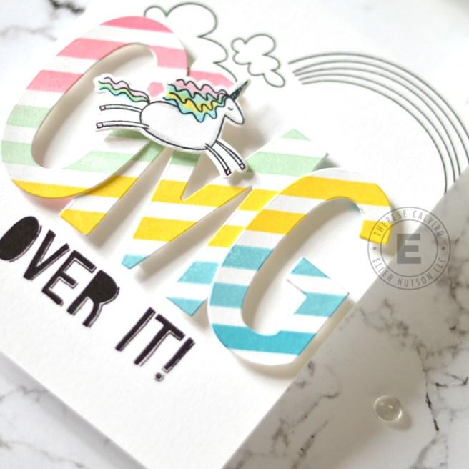 Lostinpaper - Ellen Hutson - Unicorns N Rainbows - OMG (card) 1 - Copy