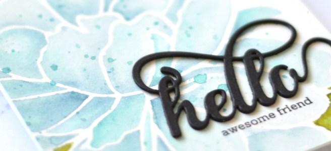 Altenew - Mega Bloom Stencil - Fancy Hello Die - Therese Calvird (card video) 1 copy