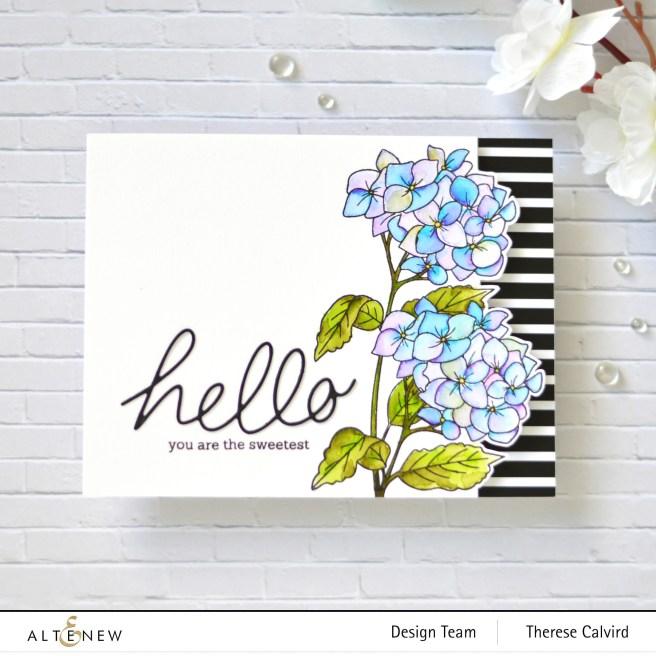 Altenew - Paint A Flower - Hydrangea - Handwritten Hello Die - Therese Calvird (card video) 1 copy