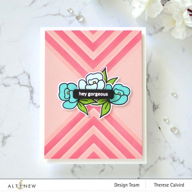 Altenew - Mighty Corners Stencil - Mini Delight - Petite Posy - Delicate Flower Bed (card video) 3 copy