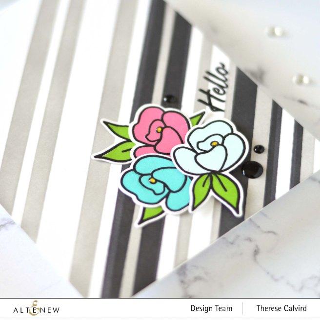 Altenew - Stripe Builder Stencil - Mini Delight - Petite Posy - Statement Flowers (card video) 5 copy