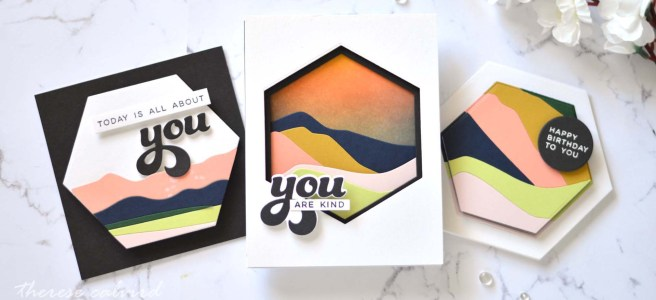 Lostinpaper - Ellen Hutson - Abstract Mountain - Abstract Sunset - All About You - And Many More - Essential Hexagons (card) (2)