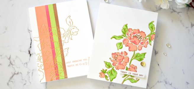 Lostinpaper - Pinkfresh Studio - Joyful Peonies - Altenew - Stone Mosaic (card video) 1