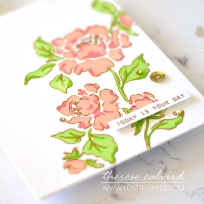 Lostinpaper - Pinkfresh Studio - Joyful Peonies - Altenew - Stone Mosaic (card video) 2