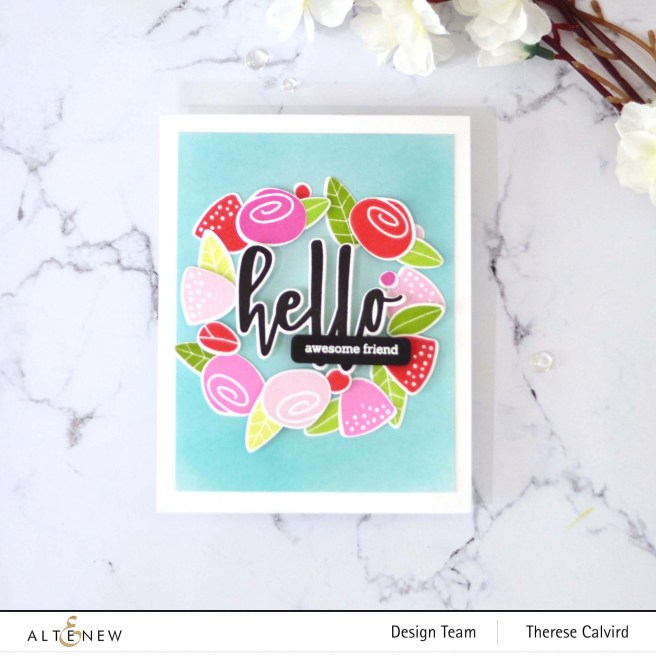 Altenew - Simple Flowers Add-On - Hello and Hugs - Featured Sentiments Die - Take 2 With Therese (card video) 1 copy