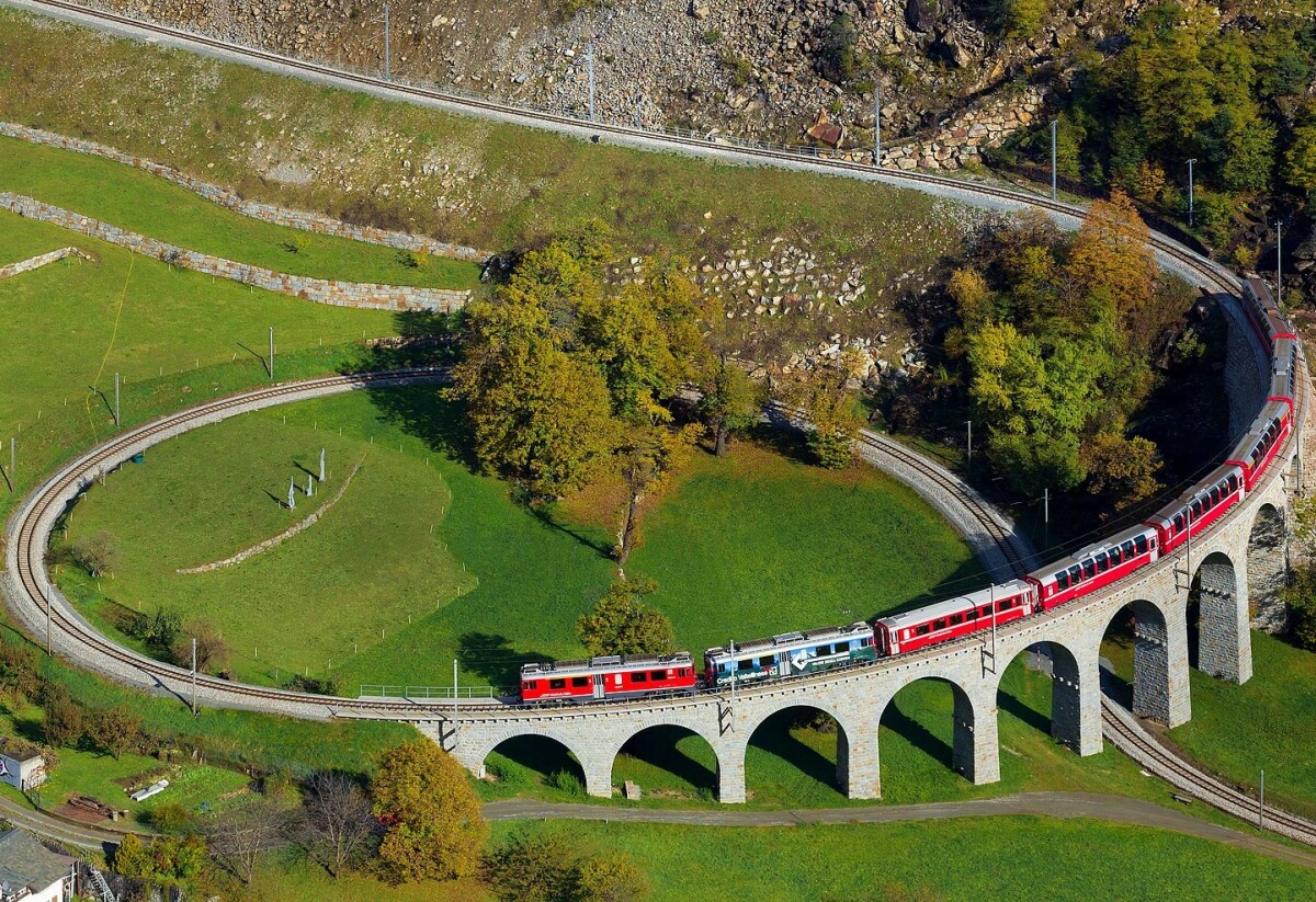 The Bernina Express spiralling its way down to the Valposchiavo in Brusio