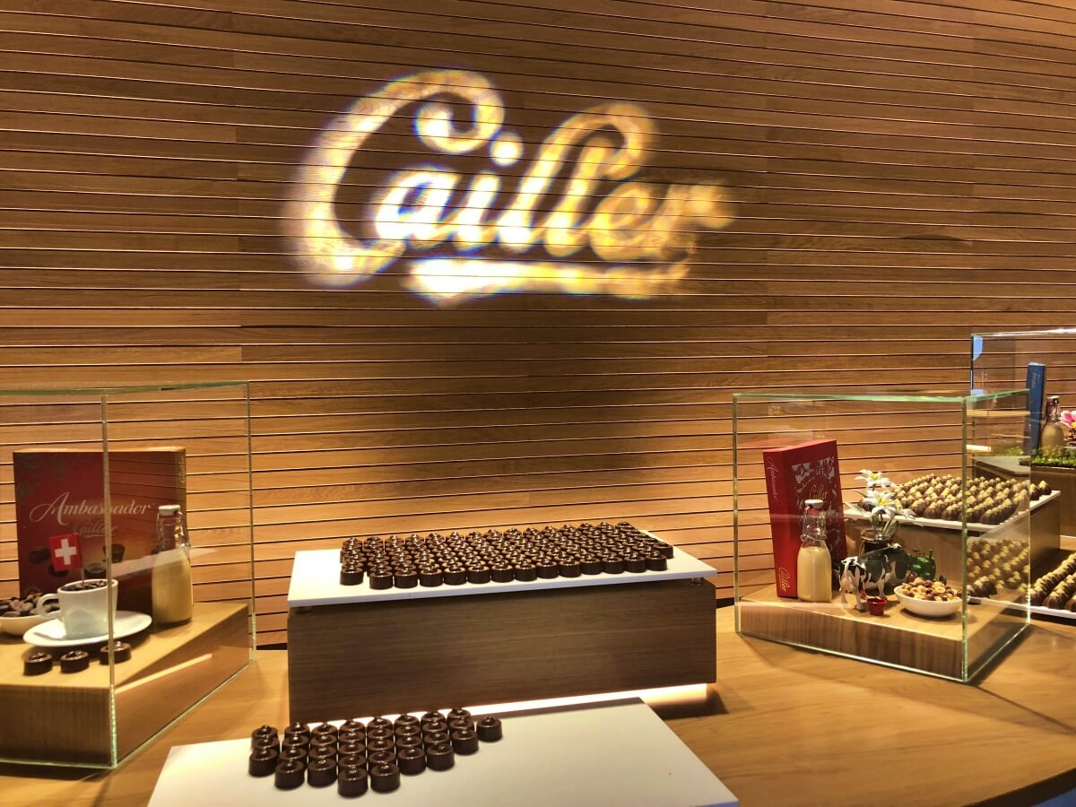 Cailler chocolate tasting section