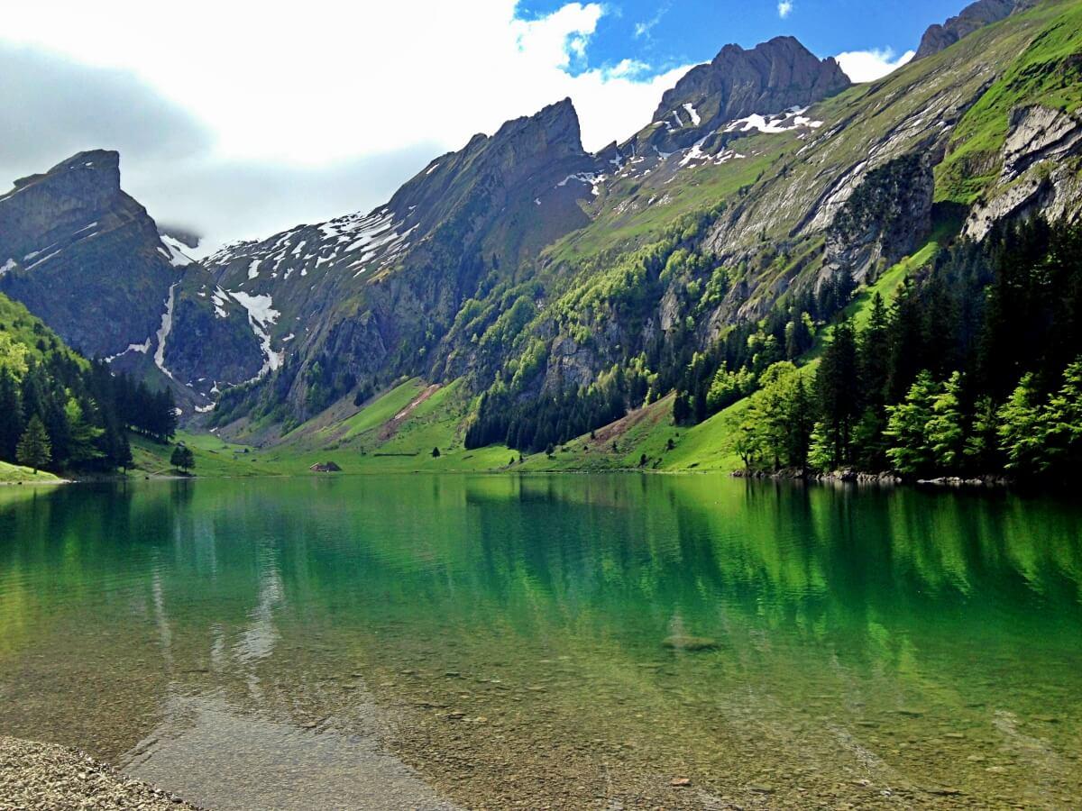 Seealpsee in the Alpstein Mountain Range