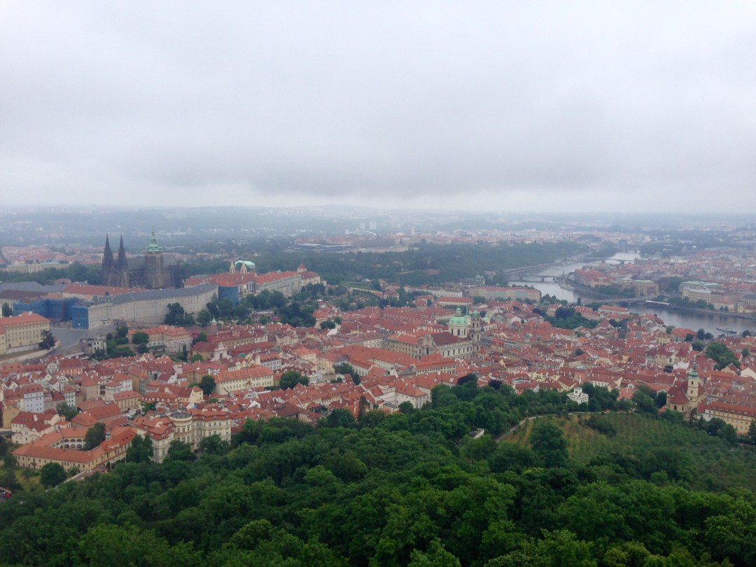 Bird's eye view of old Prague