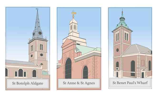 Lost London Churches Project - three church triptych
