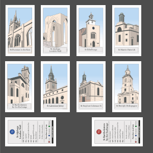 Lost London Churches Project - ten chosen cards