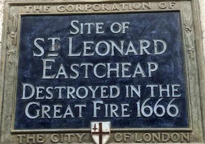 St Leonard Eastcheap Blue Plaque