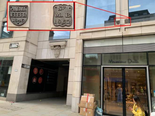 Parish boundary markers for All Hallows Honey Lane and St Mary le Bow