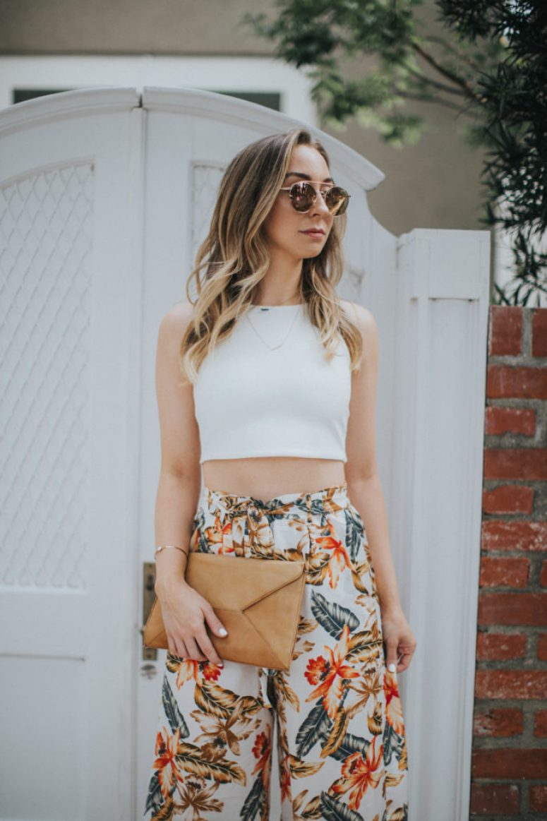 Rose gold Sunglasses, white crop top, tropical print pants culottes