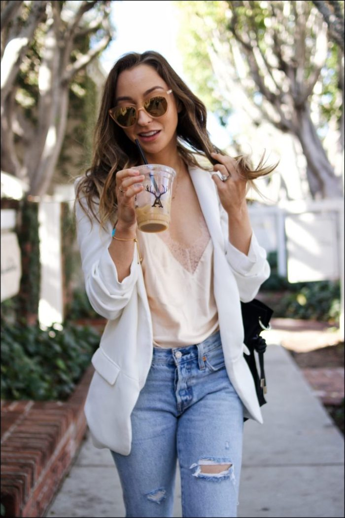 Spring outfit ideas, lace cami and white blazer with boyfriend jeans
