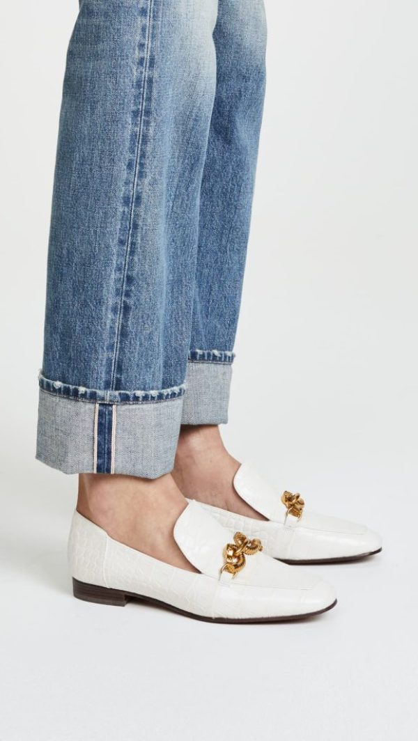 White croc loafers with gold horse head detail
