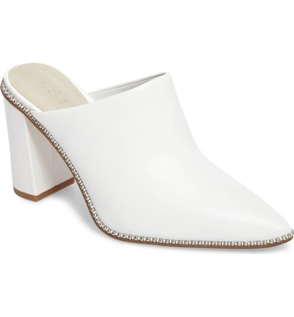 White pointed toe bootie mule