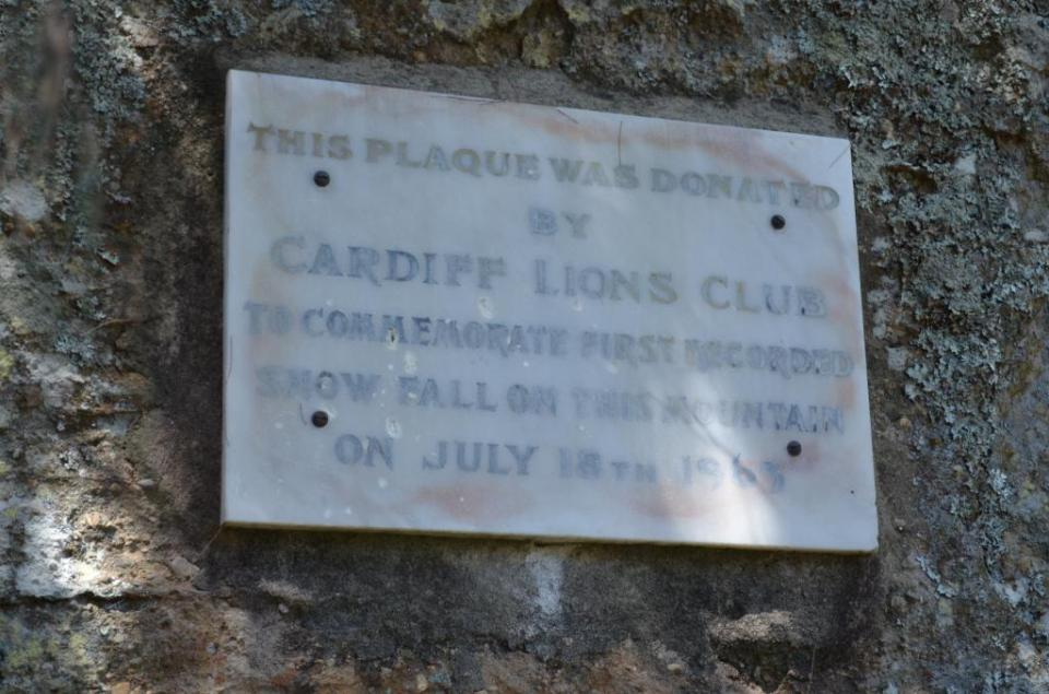 Lions Club plaque on Sugarloaf