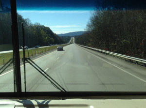 Out the windshield view of Smoky Mountains