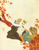 reading-under-a-tree-in-autumn by Penelope Dalughan