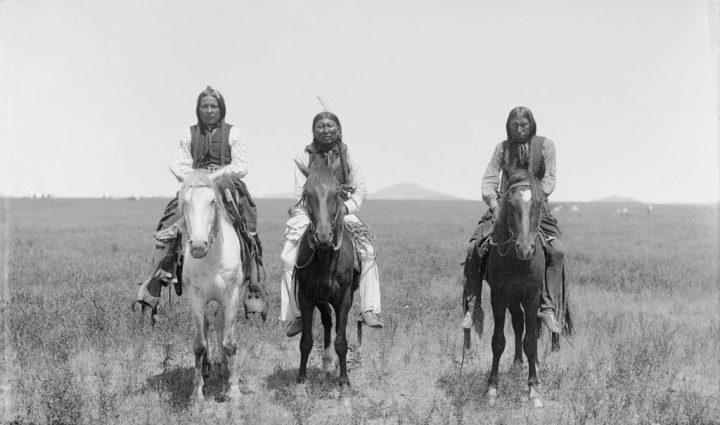 Three mounted Comanche Indian warriors, photographed 1892.