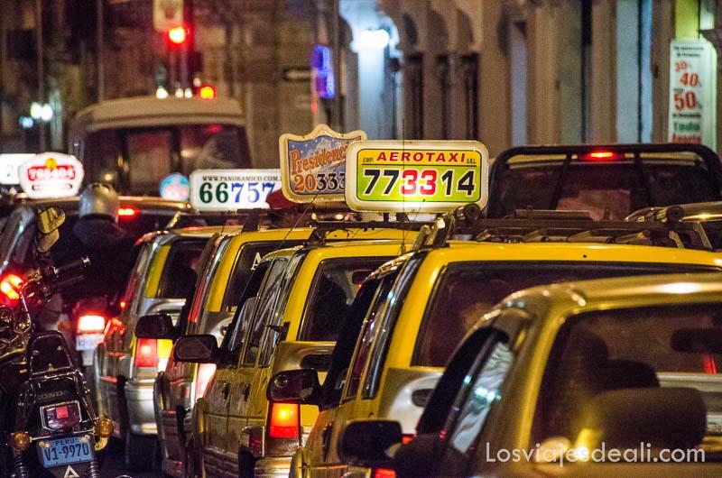 fila de taxis amarillos en una calle por la noche
