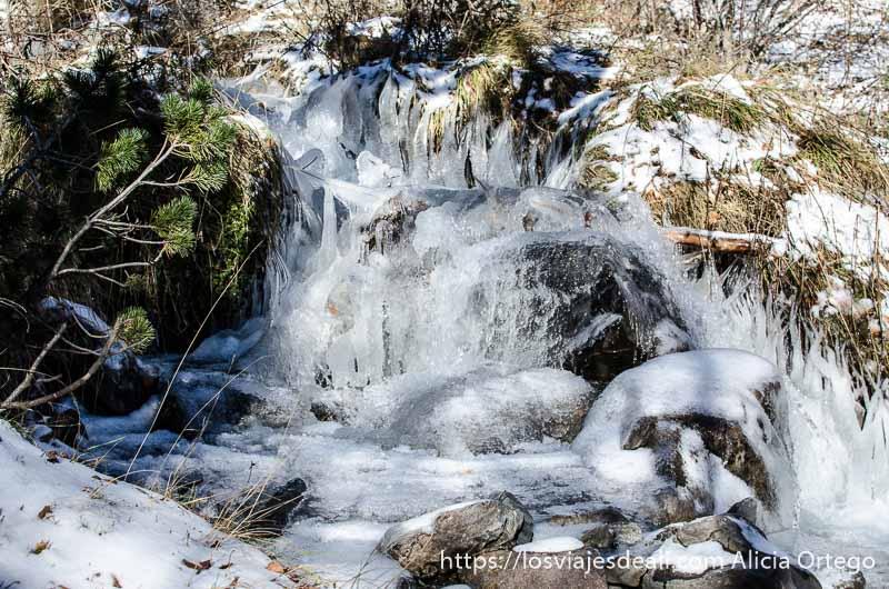 río que baja entre rocas parcialmente congelado