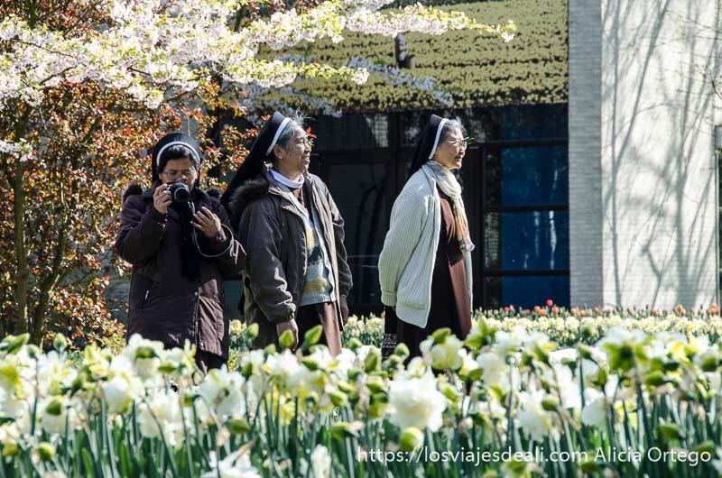 tres monjas orientales entre flores una de ellas con cámara de fotos