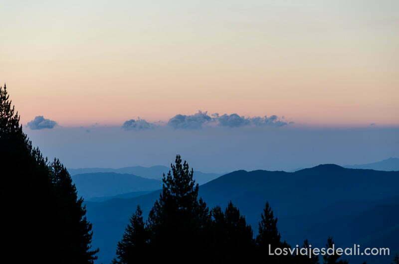 luces de amanecer en los pirineos con siluetas de árboles y niebla en los valles