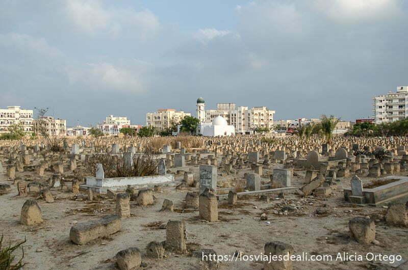 cementerio musulmán con pequeñas lápidas y al fondo mezquita con cúpula blanca