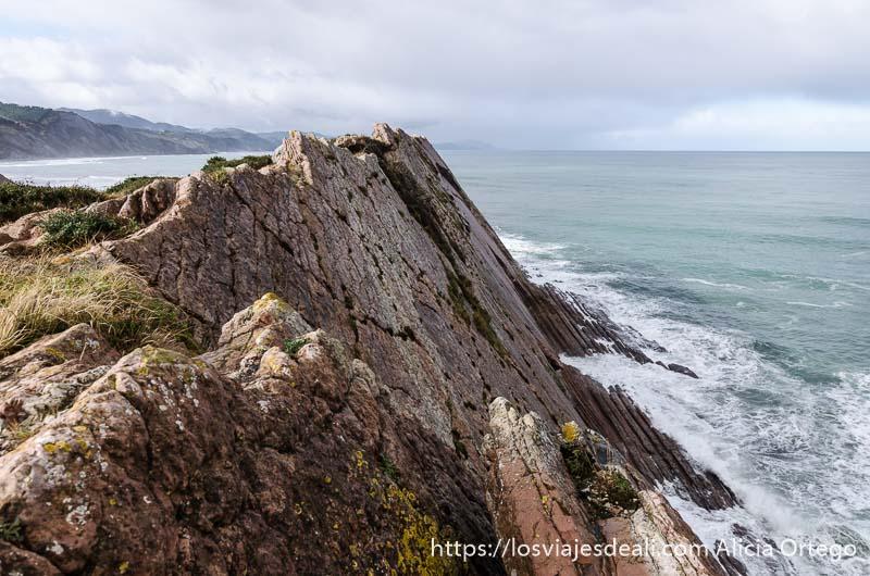 acantilado del flysch de zumaia con mar y olas