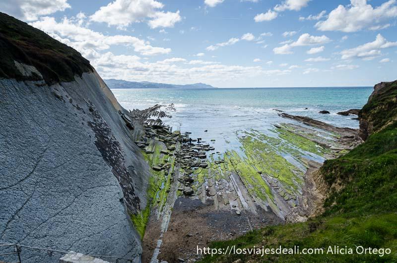 playa de elgorri vista desde arriba con rasas descubiertas por marea baja