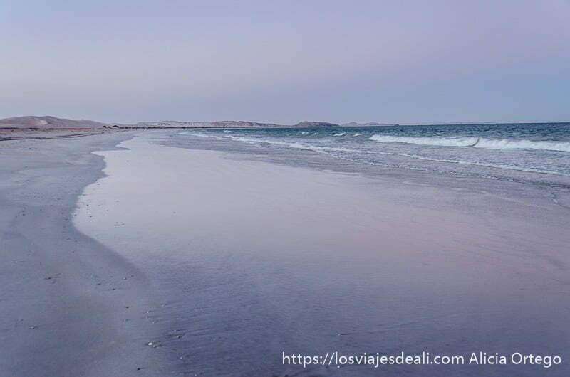 amaneceres del mundo: playa kilométrica de omán con tonos malvas por luz del alba