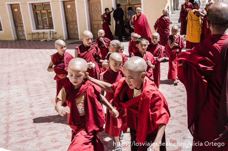 niños monje subiendo unas escaleras uno cogiendo de la oreja a otro