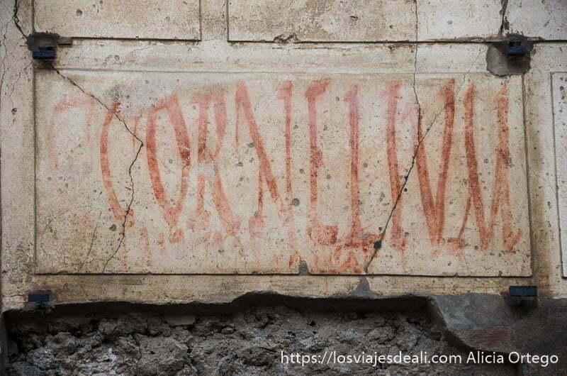 "pintada que dice ""cornelim se presenta a..."" visita a pompeya"