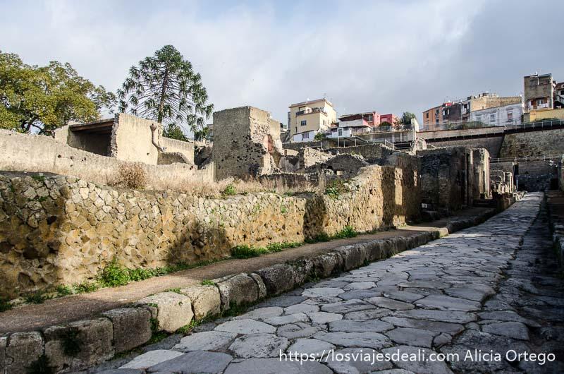 calle en ruinas en la visita a herculano