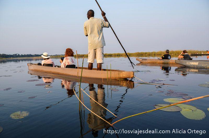 ecosistema del delta del okavango paseo en mokoro