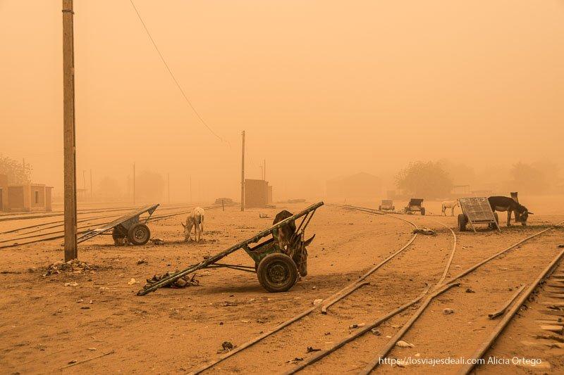 vías del tren, carros y burritos bajo el polvo de la gran tormenta de arena