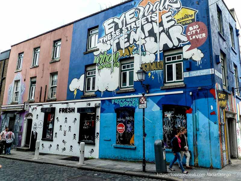 casa con fachada cubierta de streetart en un paseo por dublin