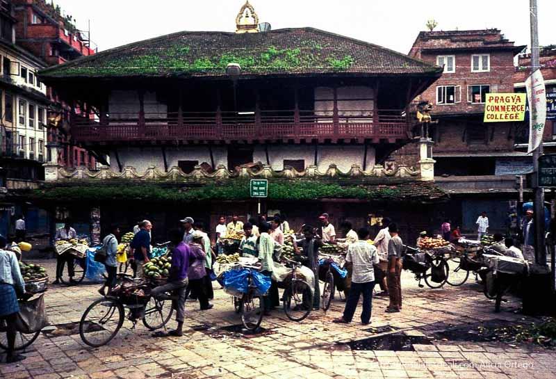 plaza de katmandú con puestos de frutas montados en bici formando una fila nepal